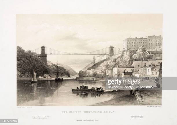Tinted lithograph by G Hawkins after an original drawn by S Jackson Isambard Kingdom Brunel designed a bridge spanning the River Avon 245 feet above...