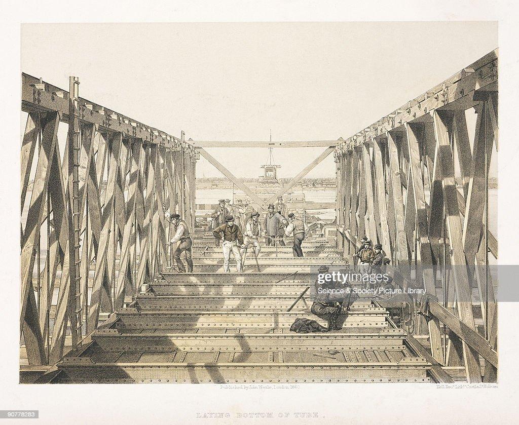 �Laying Bottom of Tube�, Victoria Bridge, Canada, 1860. : News Photo