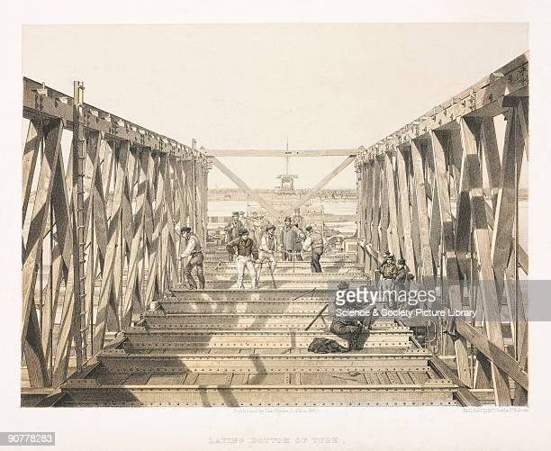 Tinted lithograph by Kell Brothers showing the construction of the Victoria Bridge at Montreal Canada The Victoria Bridge was built to carry the...