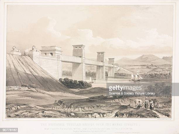 Tinted lithograph drawn and lithographed by R E Thomas The Britannia Tubular Bridge was designed by Robert Stephenson and was completed in 1850 It...