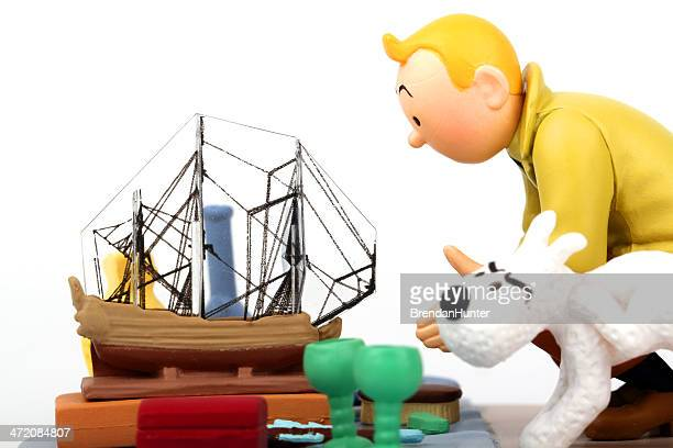 tintin and the unicorn - tintin stock photos and pictures