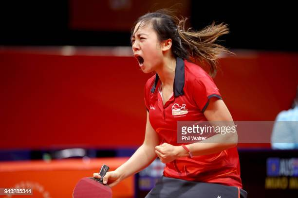 Tin-Tin Ho of England celebrates in her Womens Team bronze medal match against Miao Miao of Australiaduring Table Tennis on day four of the Gold...