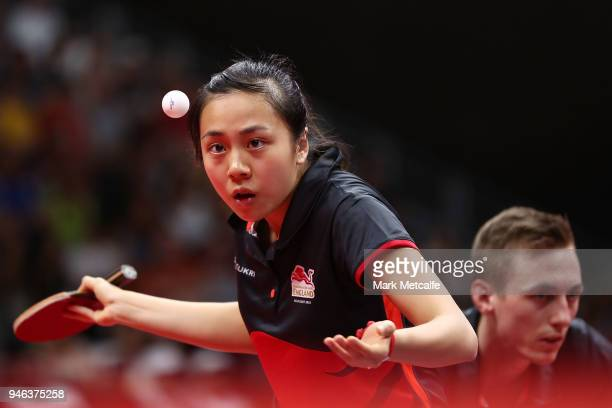 TinTin Ho of England plays a shot in the Mixed Doubles Gold Medal Match between Liam Pitchford and TinTin Ho of England and Ning Gao and Mengyu Yu of...