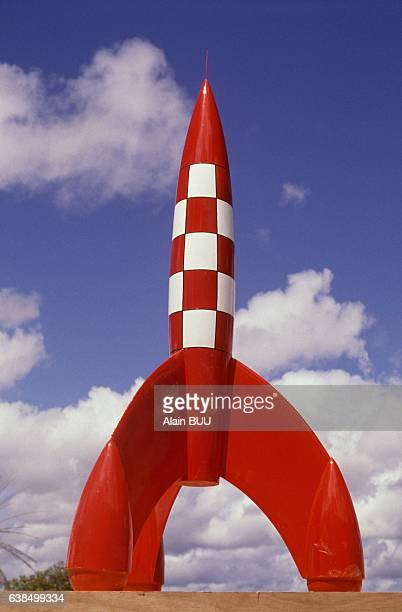 Tintin model rocket in the Kourou district where lies the Guiana Space Centre on July 21 1989 in Kourou French Guiana