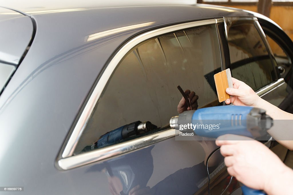Tinting of glass in car : Stock Photo