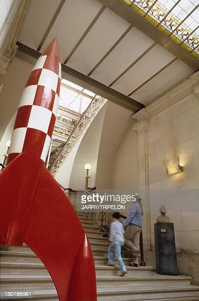 Tintin's rocket at the Comic strip Belgian Center in Brussels Belgium