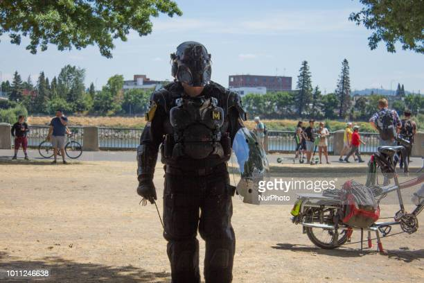 'Tiny' a member of the farright group Proud Boys speaks during a rally supporting gun rights and free speech on August 4 2018 in Portland Oregon The...