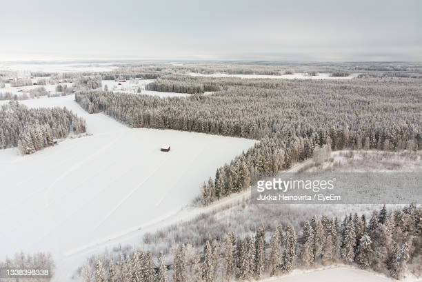 a tiny barn house stands on the snowy fields in the middle of forest. - heinovirta stock pictures, royalty-free photos & images