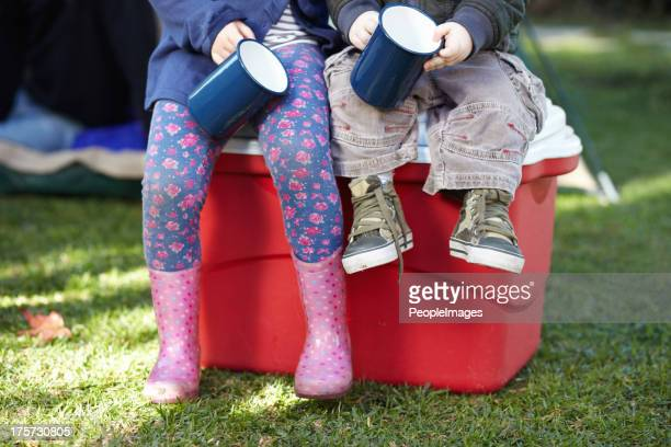 tiny campers just relaxing - esky stock photos and pictures
