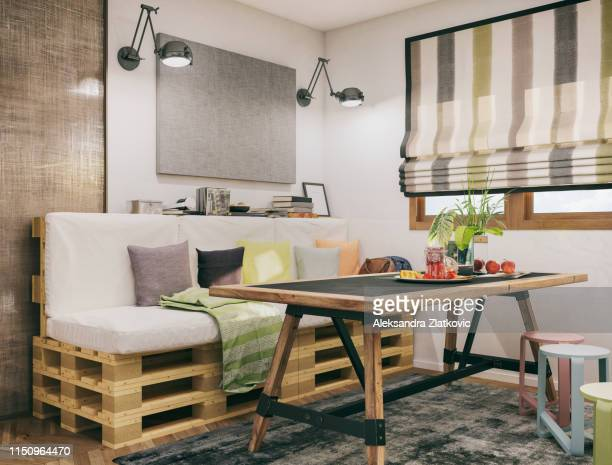 pequena sala de jantar - mesa mobília - fotografias e filmes do acervo