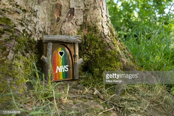 Tiny home made wooden door attached to a tree, painted in rainbow colours and with a heart shaped hole in support of NHS workers during the...