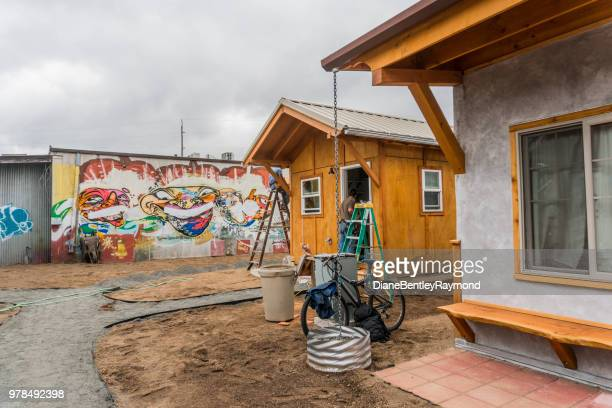 tiny house transitional village - eugene oregon stock pictures, royalty-free photos & images