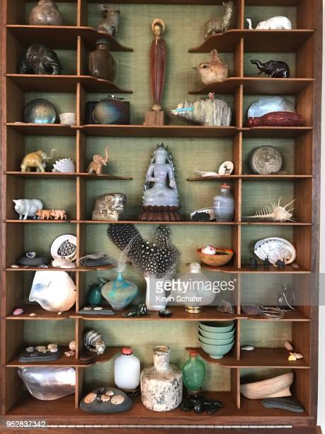 tiny objects collection in hand-made wall cabinet. - collection stock pictures, royalty-free photos & images