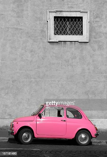 Tiny pink vintage car, Rome Italy