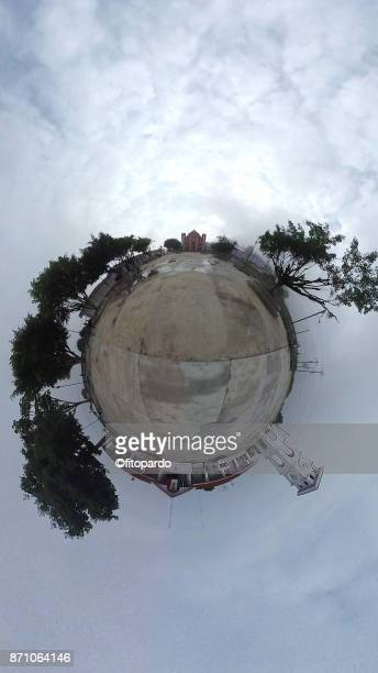 tiny planet of the downton plaza of san juan cancuc in chiapas - blue balls pics stock pictures, royalty-free photos & images