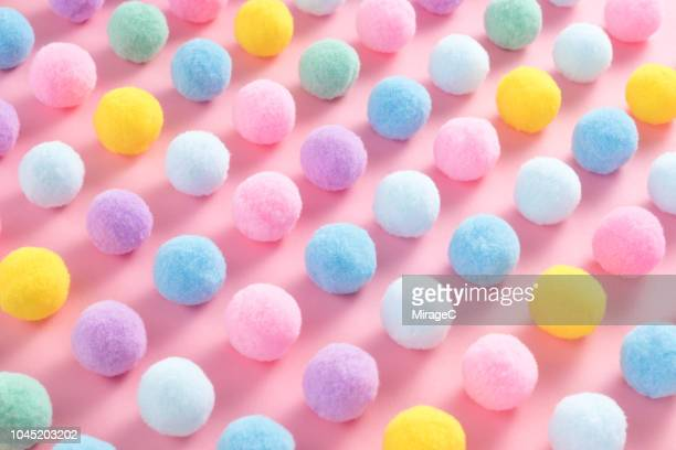 tiny pom-pom balls pattern - softness stock pictures, royalty-free photos & images