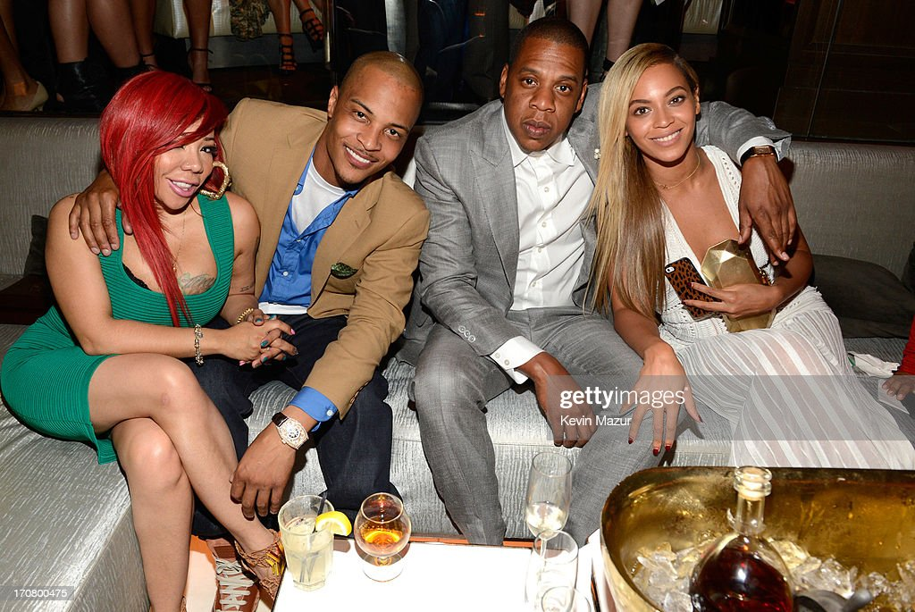 Tiny, T.I. Jay-Z and Beyonce attend The 40/40 Club 10 Year Anniversary Party at 40 / 40 Club on June 17, 2013 in New York City.