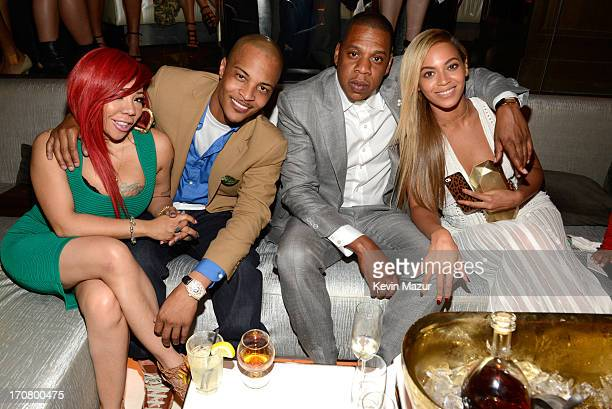 Tiny TI JayZ and Beyonce attend The 40/40 Club 10 Year Anniversary Party at 40 / 40 Club on June 17 2013 in New York City