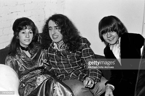 Tiny Tim relaxes backstage with his wife Miss Vicki and Jack Wild at the Troubadour on January 13 1970 in Los Angeles California