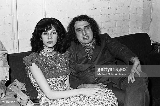 Tiny Tim relaxes backstage with his wife Miss Vicki at the Troubadour on July 28 1970 in Los Angeles California