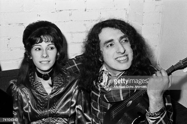 Tiny Tim relaxes backstage with his wife Miss Vicki at the Troubadour on January 13 1970 in Los Angeles California