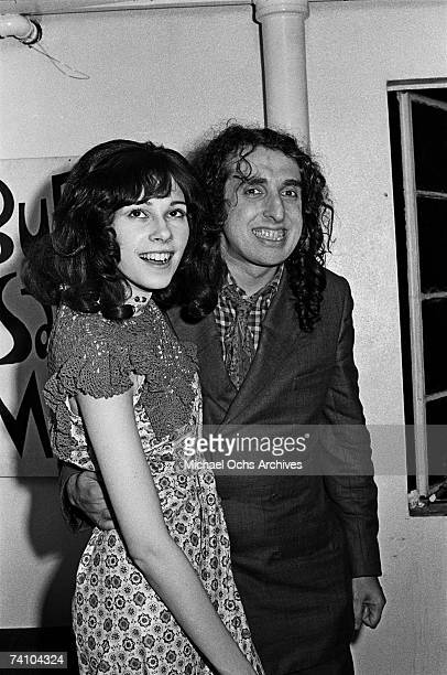 Tiny Tim smiles for the camera backstage with his wife Miss Vicki at the Troubadour on July 28 1970 in Los Angeles California