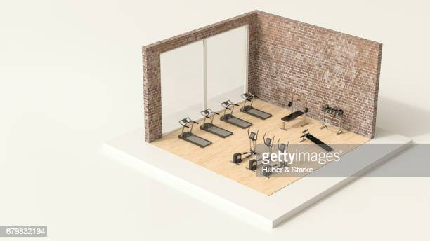 tiny world, fitness room - gesunder lebensstil stock pictures, royalty-free photos & images