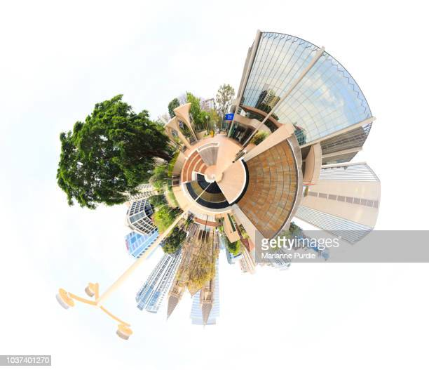 a tiny world of the brisbane skyline - formato de pequeno planeta - fotografias e filmes do acervo