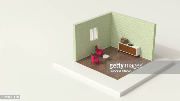 tiny world, old-fashioned living room - lebensstil stock photos and pictures
