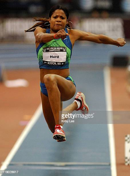 Tiombe Hurd was second in the women's triple jump at 4311 1/4 in the USA Track Field Indoor Championships at the Reggie Lewis Center in Boston Mass...