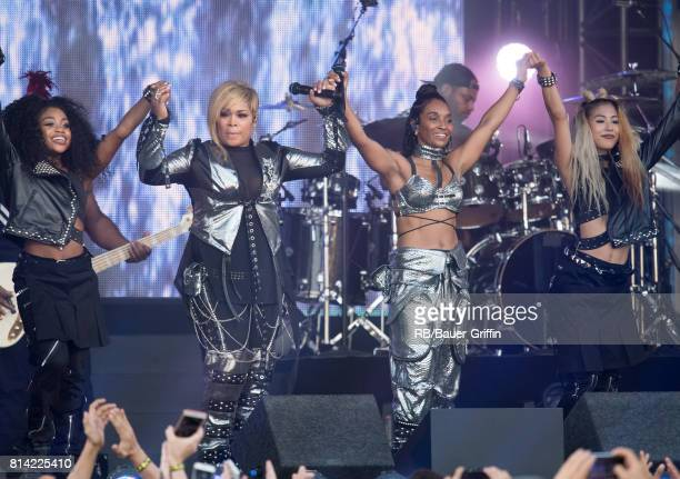 Tionne 'T Boz' Watkins and Rozonda 'Chilli' Thomas of the music group 'TLC' are seen at 'Jimmy Kimmel Live' on July 13 2017 in Los Angeles California