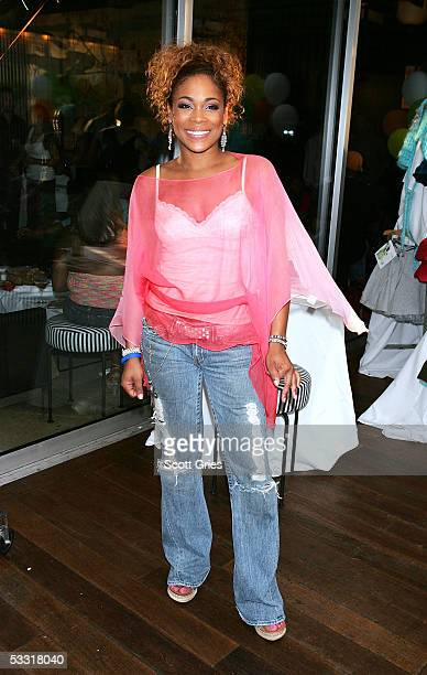 Tionne T Boz Watkins of TLC poses for a photo during a fashion show and party to benefit the Make A Wish Foundation at The Park August 2 2005 in New...