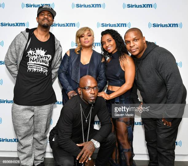 Tionne TBoz Watkins and Rozonda Chilli Thomas of girl group TLC with DJ Kay Gee Treach and Vin Rock of Hip hop trio Naughty By Nature visit SiriusXM...
