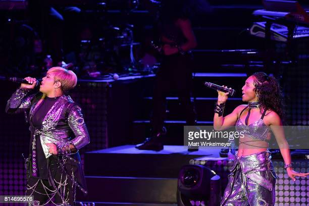 Tionne 'TBoz' Watkins and Rozonda 'Chilli' Thomas of the music group 'TLC' perform onstage during the I Love The 90s The Party Continues at The Greek...