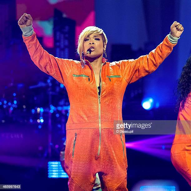 Tionne 'TBoz' Watkins of TLC performs during VH1's Super Bowl Blitz Six Nights Six Concerts at the Beacon Theatre on January 30 2014 in New York City