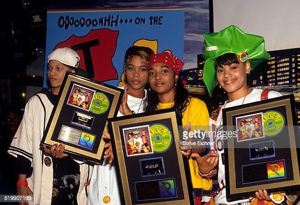 Tionne 'TBoz' Watkins Rozonda 'Chilli' Thomas and Lisa 'Left Eye' Lopes of TLC at Gold record presentation New York April 15 1992