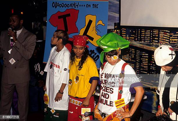 Tionne 'TBoz' Watkins Rozonda 'Chilli' Thomas and Lisa 'Left Eye' Lopes of TLC at Gold record presentation New York April 15 1992