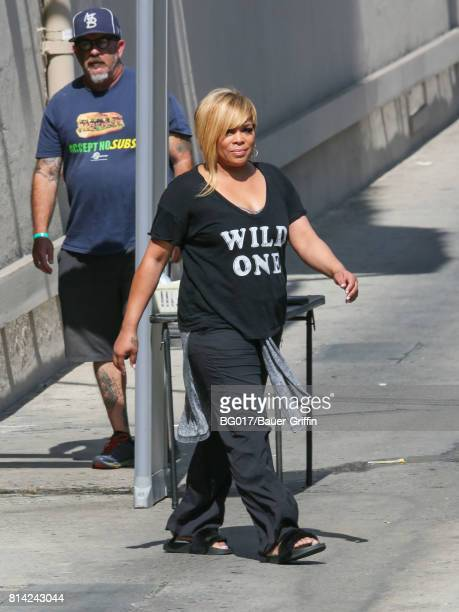 Tionne Watkins aka 'TBoz' is seen at 'Jimmy Kimmel Live' on July 13 2017 in Los Angeles California