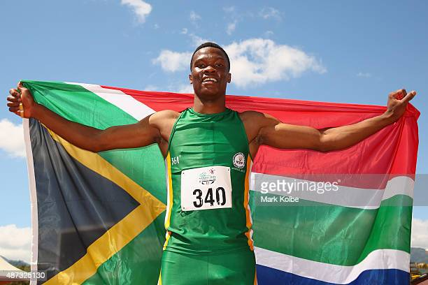 Tiotliso Gift Leotlela of South Africa celebrates winning the boys 200m final during the athletics competition at the Apia Park Sports Complex on day...