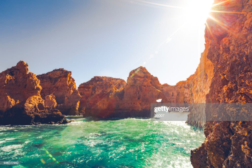 ponta da piedade rock formation, portugal : Stock Photo