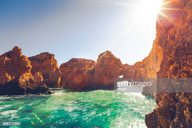 ponta da piedade rock formation, portugal - republic of cyprus stock pictures, royalty-free photos & images