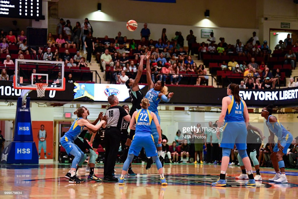 Tip off between Cheyenne Parker #32 of the Chicago Sky and Kia Vaughn #7 of the New York Liberty on July 15, 2018 at Westchester County Center in White Plains, New York.