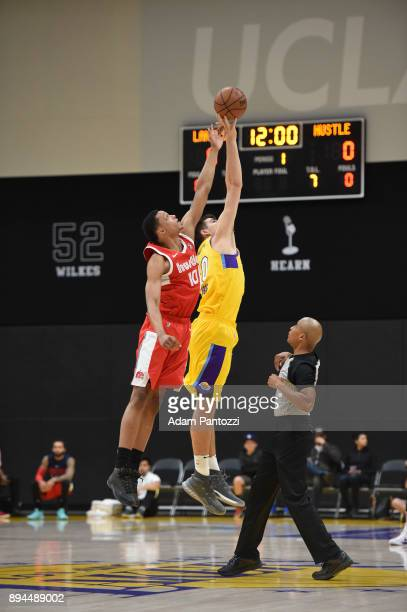 Tip off between Ivan Rabb of the Memphis Hustle and Ivica Zubac of the South Bay Lakers during an NBA GLeague game on December 17 2017 at UCLA Heath...