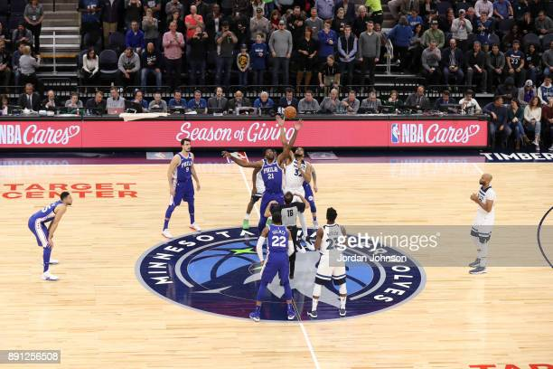 Tip off between Joel Embiid of the Philadelphia 76ers and KarlAnthony Towns of the Minnesota Timberwolves on December 12 2017 at Target Center in...