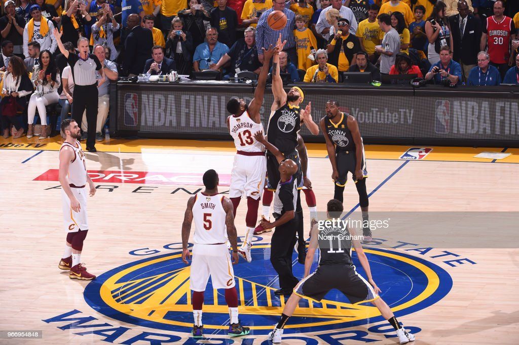 c03b442d842 Tip off between Tristan Thompson of the Cleveland Cavaliers and ...