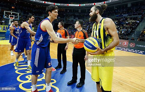 Tip off ceremony during the 20152016 Turkish Airlines Euroleague Basketball Top 16 Round 13 game between Fenerbahce Istanbul v Anadolu Efes Istanbul...