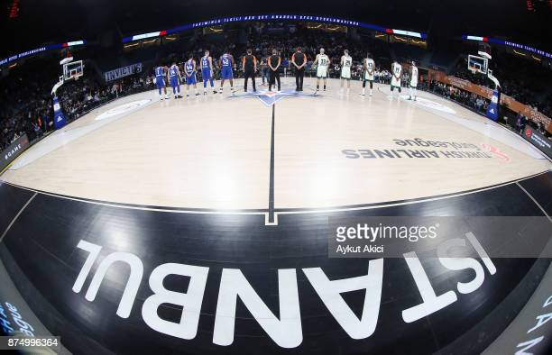 Tip off ceremony during the 2017/2018 Turkish Airlines EuroLeague Regular Season Round 8 game between Anadolu Efes Istanbul and Panathinaikos...
