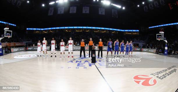 Tip off ceremony during the 2017/2018 Turkish Airlines EuroLeague Regular Season game between Anadolu Efes Istanbul and AX Armani Exchange Olimpia...