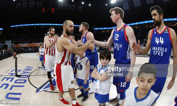 Tip off ceremony during the 2017/2018 Turkish Airlines EuroLeague Regular Season game between Anadolu Efes Istanbul and Olympiacos Piraeus at Sinan...