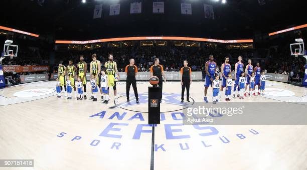 Tip off ceremony during the 2017/2018 Turkish Airlines EuroLeague Regular Season Round 19 game between Anadolu Efes Istanbul and Fenerbahce Dogus...